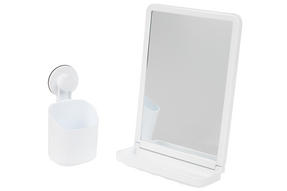 Beldray Bathroom Plastic Suction Toothbrush Holder and Square Suction Mirror with Shelf, White Thumbnail 1