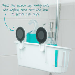 Beldray Bathroom Plastic Suction Toothbrush Holder and Square Suction Mirror with Shelf, White Thumbnail 7