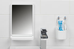 Beldray Bathroom Plastic Suction Toothbrush Holder and Square Suction Mirror with Shelf, White Thumbnail 2