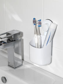 Beldray Bathroom Plastic Suction Toothbrush Holder and Square Suction Mirror with Shelf, White Thumbnail 4