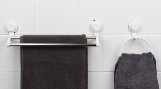 Beldray Bathroom Plastic Suction Towel Ring and Double Towel Rail Rack, White Thumbnail 2