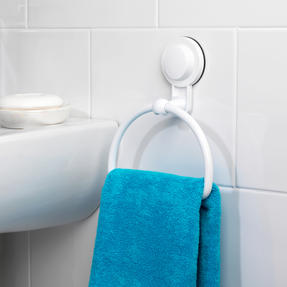 Beldray Bathroom Plastic Suction Towel Ring and Double Towel Rail Rack, White Thumbnail 3