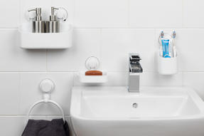 Beldray Bathroom Plastic Suction Toothbrush Holder, Storage Basket, Soap Dish and Towel Ring, White Thumbnail 2