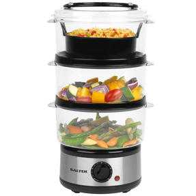 Salter Healthy Cooking 3-Tier Food Rice Meat Vegetable Steamer, 7.5 Litre Thumbnail 1