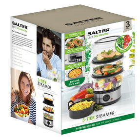 Salter Healthy Cooking 3-Tier Food Rice Meat Vegetable Steamer, 7.5 Litre Thumbnail 4