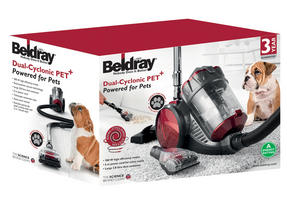 Beldray BEL0666 Compact Cylinder Dual Cyclonic Pet Plus Vacuum Cleaner, 700 W, Red Thumbnail 9