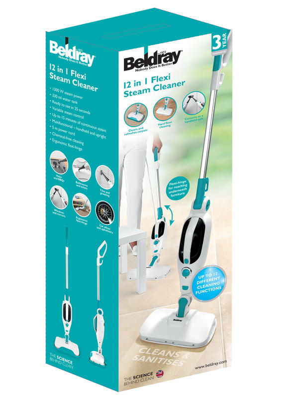 Beldray BEL0698 12 in 1 Microfibre Brush Nozzle Grouting Garment Upholstery Window Mirror Flexi Steam Cleaner, 1300 W, Turquoise Thumbnail 2