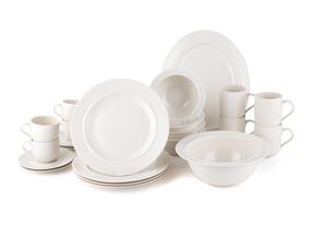 Alessi La Bella Tavola Porcelain 4-Place Setting Dining Set with Serving Bowl & Serving Platter Thumbnail 1