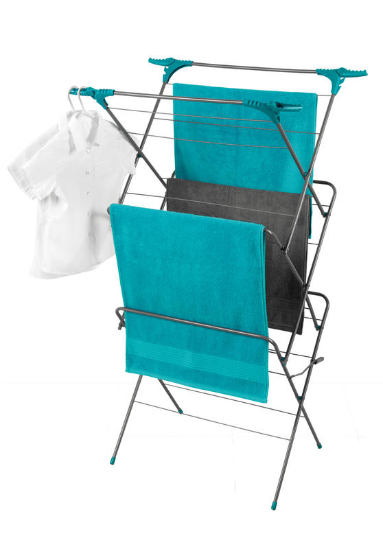 Beldray Elegant 3 Tier Clothes Airer, 15 m Drying Space, Turquoise Thumbnail 1
