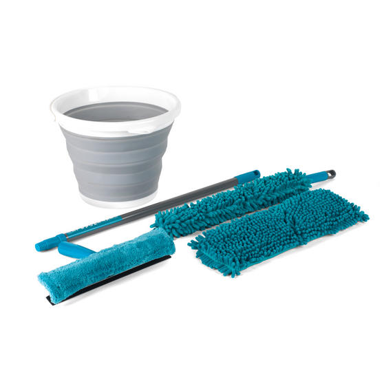 Beldray 8 Piece Duster and Mop Cleaning Set with Collapsible Bucket, Turquoise/Grey