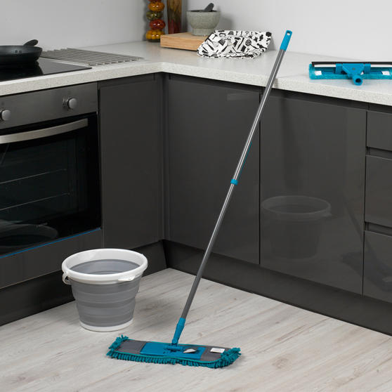 Beldray 8 Piece Duster and Mop Cleaning Set with Collapsible Bucket, Turquoise/Grey Thumbnail 2