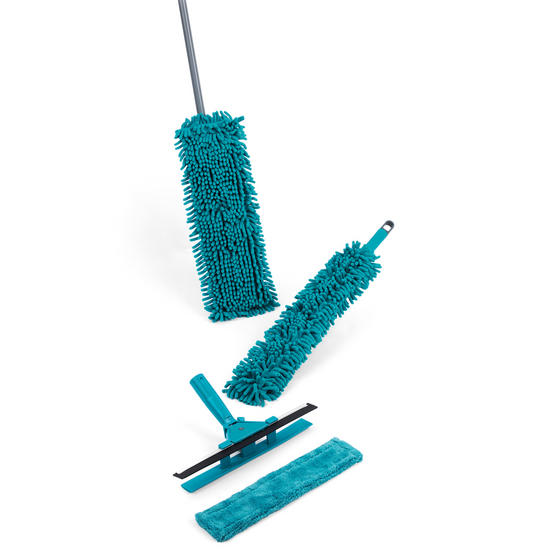 Beldray 8 Piece Duster and Mop Cleaning Set with Collapsible Bucket, Turquoise/Grey Thumbnail 5