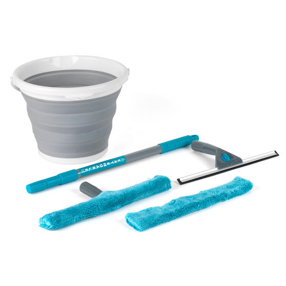 Beldray 6 Piece Microfibre Window Cleaning Set with Collapsible Bucket Thumbnail 1