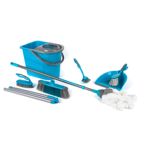 Beldray 7 Piece Cleaning Set with Broom, Brushes, 14 Litre Bucket and Extendable Microfibre Mop