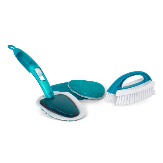 Beldray 2 Piece Cleaning Set with Duster and Scrubbing Brush, Turquoise Thumbnail 1