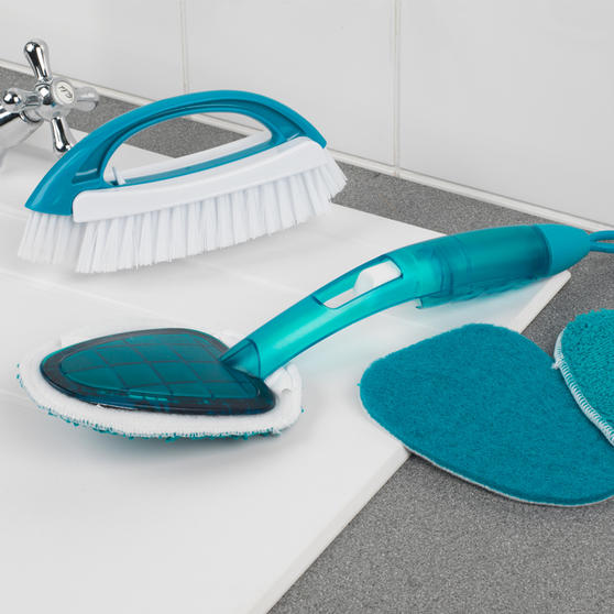 Beldray 2 Piece Cleaning Set with Duster and Scrubbing Brush, Turquoise Thumbnail 2