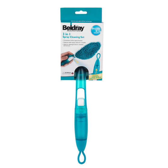 Beldray 2 Piece Cleaning Set with Duster and Scrubbing Brush, Turquoise Thumbnail 5