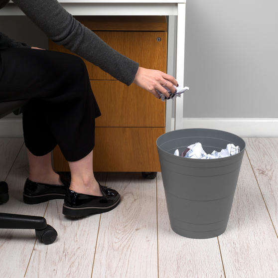 Beldray Office Bin Waste Paper Basket, Grey Thumbnail 2