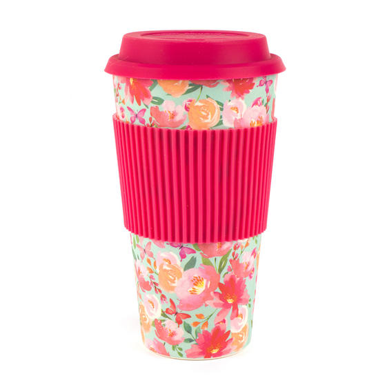 Cambridge CM05897 Bamboo Large Flori Reusable Coffee Cup Travel Mug
