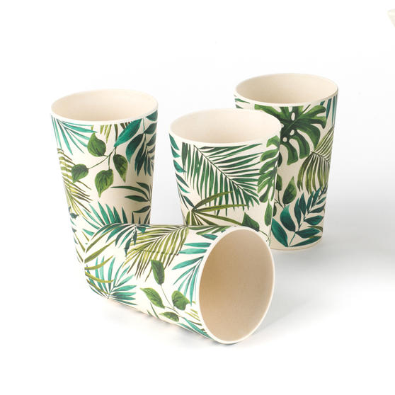 Cambridge Polynesia Bamboo Water Juice Reusable Cups, Set of 4