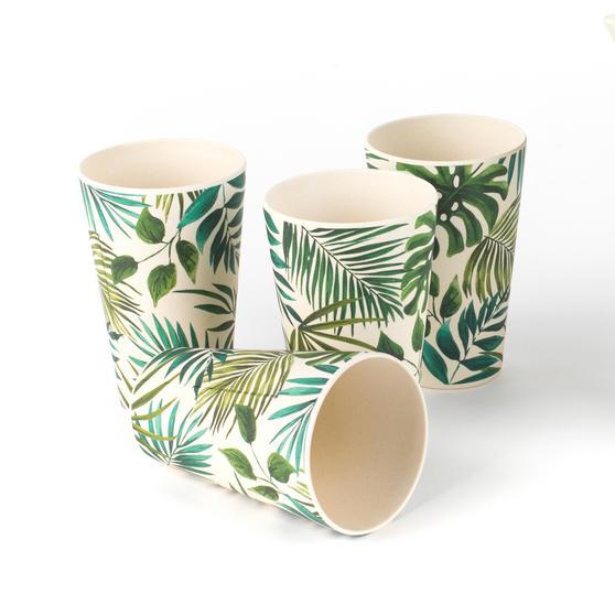 Cambridge Polynesia Bamboo Water Juice Reusable Cups, Set of 4
