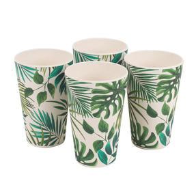 Cambridge CM05920 Lightweight Water Juice Reusable Cups, 400ml, Set of 4, Polynesia Print | Dishwasher Safe | BPA Free | Alternative to Single Use Plastics Thumbnail 3