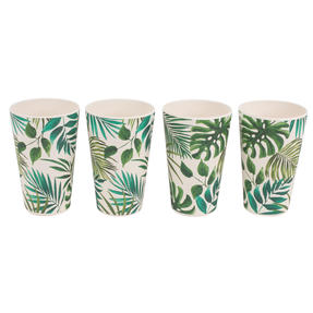 Cambridge CM05920 Lightweight Water Juice Reusable Cups, 400ml, Set of 4, Polynesia Print | Dishwasher Safe | BPA Free | Alternative to Single Use Plastics Thumbnail 4
