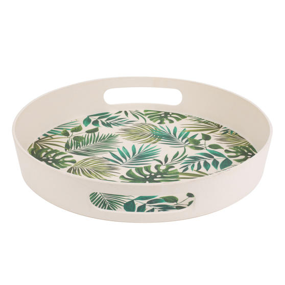 Cambridge CM05925 Polynesia Round Reusable Tray with Handles | Perfect for Serving Drinks at Parties