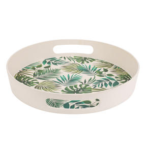 Cambridge CM05925 Polynesia Round Bamboo Carry Serving Lap Food Tray with Handles Thumbnail 1