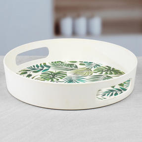 Cambridge CM05925 Polynesia Round Bamboo Carry Serving Lap Food Tray with Handles Thumbnail 4