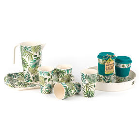 Cambridge CM05925 Polynesia Round Bamboo Carry Serving Lap Food Tray with Handles Thumbnail 5