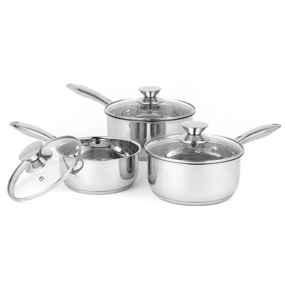 Russell Hobbs BW06571 Classic Collection 3 Piece Saucepan Set, 16/18/20 cm