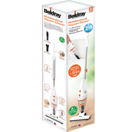 Beldray 2 in 1 Multifunctional Vacuum Cleaner, 1 Litre, 600 W, White and Orange Thumbnail 6