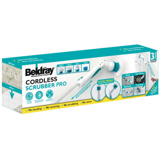 Beldray Extendable Cordless Scrubber Pro with Four Interchangeable Heads, 117 cm Thumbnail 6