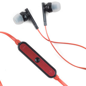 Intempo Metallic Look Bluetooth Earphones, Black/Red Thumbnail 2