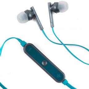 Intempo EE1738GRYGRNSTK Metallic Look Bluetooth Earphones, Grey/Green Thumbnail 3