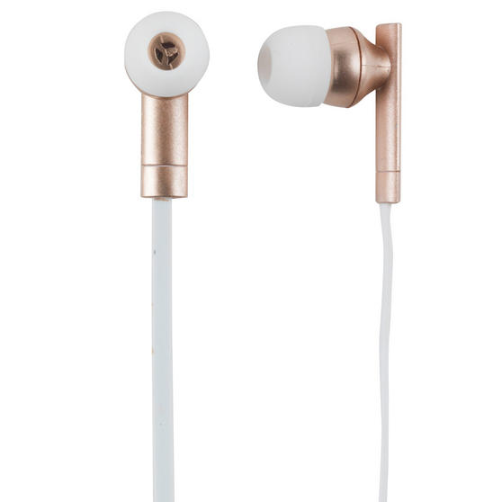 Intempo Soho Metallic Tangle-Free Cable Earphones, Rose Gold
