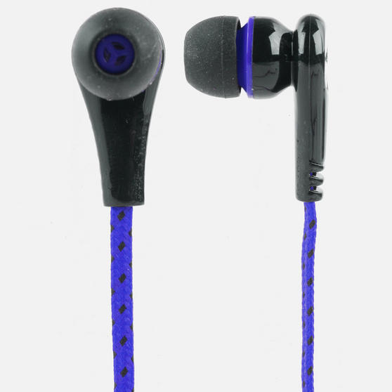 Intempo EE3063BLUBLKSTK Braided Fabric Tangle-Free Cable Earphones, Blue/Black