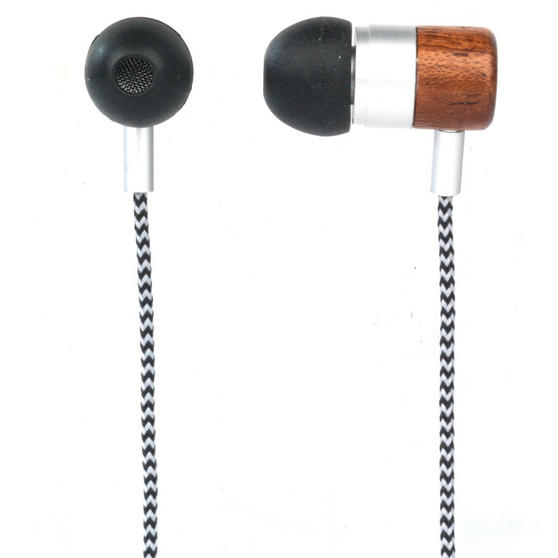 Intempo Wooden Effect Tangle-Free Cable Earphones, Grey