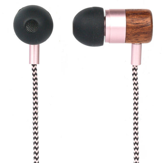 Intempo Wooden Effect Tangle-Free Cable Earphones, Rose Gold
