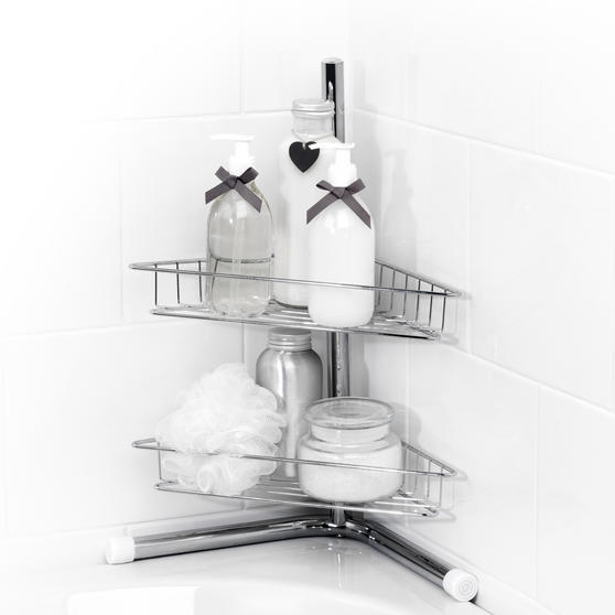 Beldray -Tier Bath Corner Caddy, Stainless Steel, Chrome Thumbnail 1