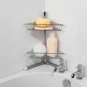 Beldray LA037114 2-Tier Bath Corner Caddy, Stainless Steel, Chrome Thumbnail 2
