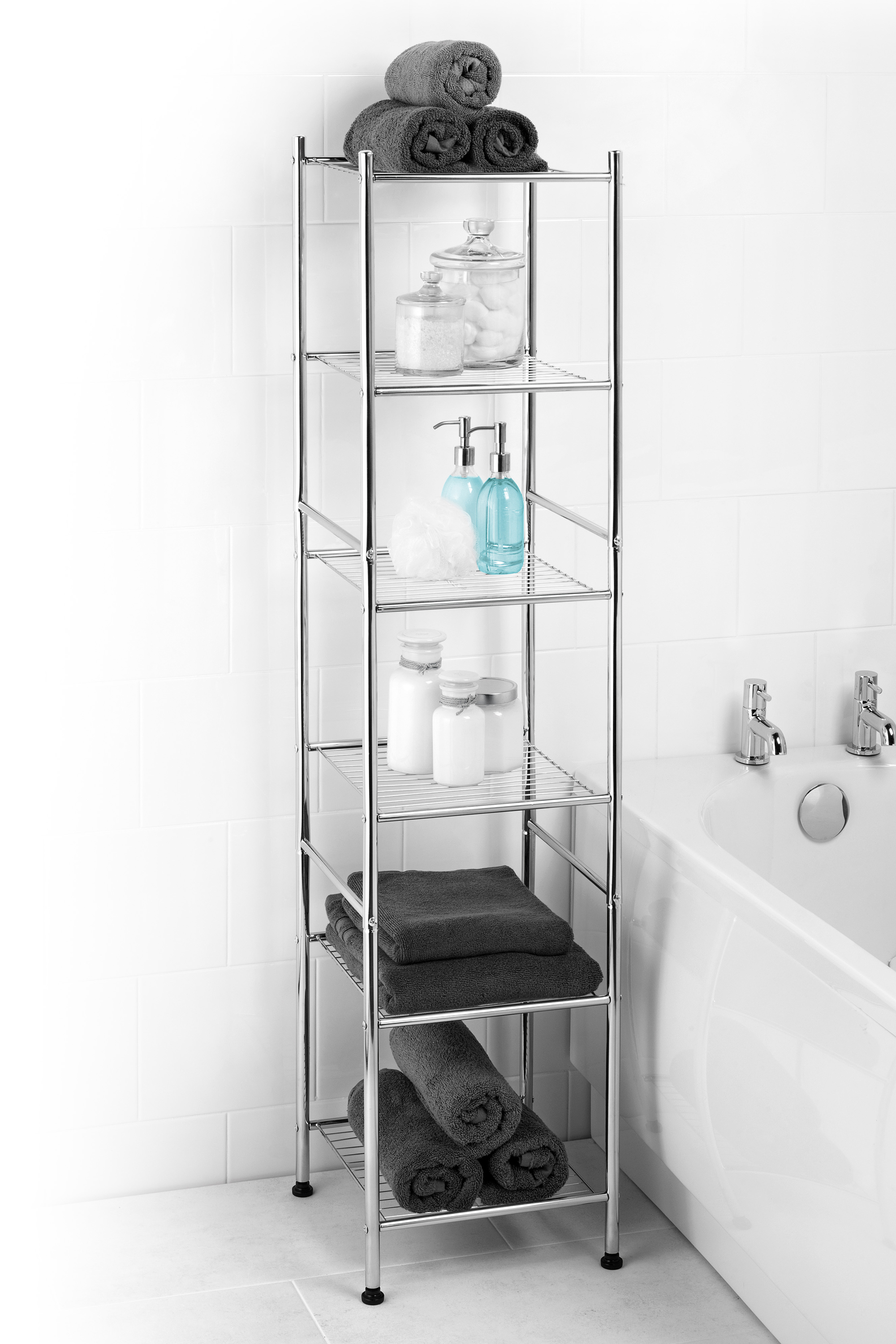 Beldray 6 Tier Bathroom Shelf Unit With Adjule Feet Chrome
