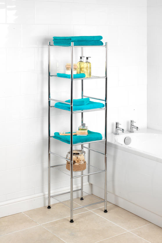 Beldray 6-Tier Bathroom Shelf Unit with Adjustable Feet, Chrome Thumbnail 2