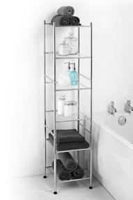 Beldray LA037770 6-Tier Bathroom Shelf Unit with Adjustable Feet, Chrome Thumbnail 1