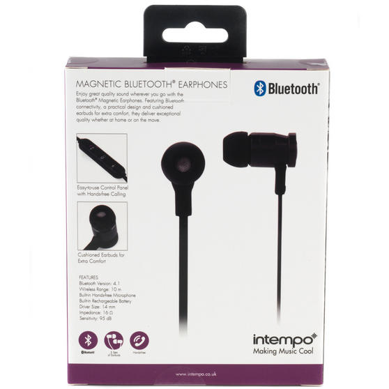 Intempo Bluetooth Wireless Magnetic Earphones, Black