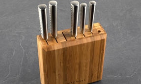 Sekitobei 6 Piece Japanese Knife Block Set including Large and Small Size Blades, Stainless Steel / Bamboo Thumbnail 2