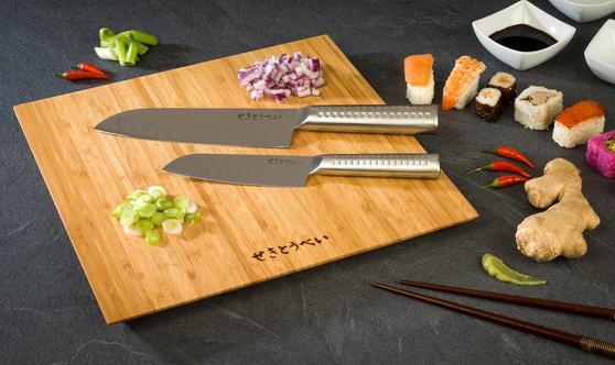 Sekitobei 3 Piece Japanese Santoku Stainless Steel Kitchen Knife Set and Bamboo Chopping Board