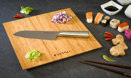 Sekitobei 2 Piece Stainless Steel Santoku Large Kitchen Knife and Bamboo Chopping Board Set