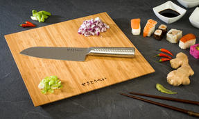 Sekitobei 2 Piece Stainless Steel Santoku Large Kitchen Knife and Bamboo Chopping Board Set Thumbnail 1